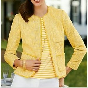 TALBOTS | Yellow Tweed Lyla Blazer Jacket Size 14